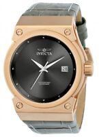 Invicta Women's Akula 100m Rose Gold Tone S. Steel Grey Leather Watch 24463