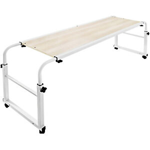 Adjustable Mobile Laptop Cart Standing Overbed Table w/ Wheels Rolling Bed Table