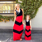 Mother and Daughter Casual Boho Striped Maxi Dress Mom&Kids Summer Set Outfits