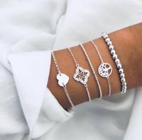 5Pcs/Set Women Silver Map Heart Tassel Beads Tree of Life Bracelet Jewelry Gift