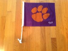 Clemson Tigers Double Sided Car Flag With Flagpole, Coca Cola