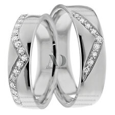 Solid 14K White Gold 6mm & 5mm Wide His & Hers Diamond Matching Band Set 0.36Ctw