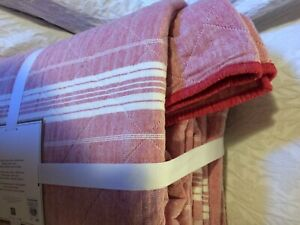 pottery barn windward stripe quilt full queen red ivory christmas reverses red