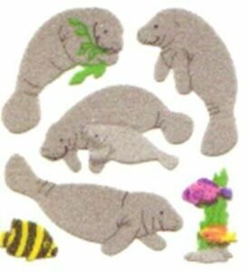 **RARE** FUZZY MANATEE Sandylion Stickers - 2 squares      <NOT IN PRINT>