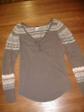WE THE FREE BROWN PINK SKI LODGE SWEATER KNIT SLEEVE YOKE HENLEY THERMAL - L