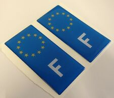 2x French France F Euro Gel 3D Number Plate Side Badge Badges for METAL PLATES
