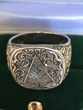 Solid Silver Masonic 925 Ring Great Detail Size V 7.8g