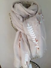 EMBROIDERED LEAF/LEAVES BEIGE/TAUPE SOFT S/S SCARF BNWT