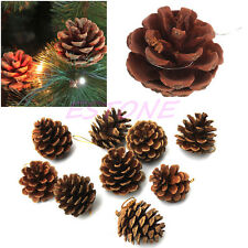 1 Pack Of 9 Christmas Natural Pine Cones Baubles Xmas Tree Hanging Decorations