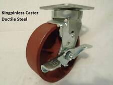 6 X 2 Swivel Caster Kingpinless Ductile Steel Wheel With Brake 2000lb Each