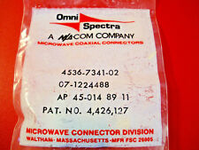 Omni Spectra 4536-7341-02 Connector Coaxial RF Straight Gold Plate Nib New