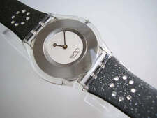 DIAMOND DANCE! Swatch SKIN w Sparkling CRYSTALS on Black Leather Band! NIB-RARE!