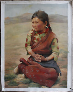 "Fine art unique/original oil painting on canvas Tibetan nomad young girl 30""x40"""