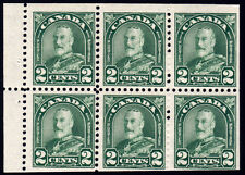 Canada #164a - King George V Arch/Leaf, 2 cents Green, Booklet Pane of 6, 1930