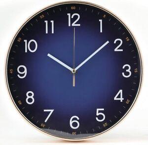 Clock Wall 12 Inch Modern Blue Midnight Design Silent Sweep Quartz-Large Numbers
