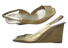 MIU MIU Gold Slingback Wedges, size 38 (US 8)
