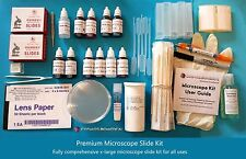 Microscope Slide Kit - Premium Kit (Slides, Coverslips, Stains, Mountant etc.)