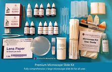 Mikroskop Set - Premium Set (Folien, Deckgläser, Flecken, Montierung usw.