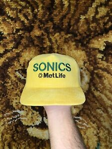 Vtg Seattle Supersonics Corduroy Snapback Hat