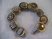 Stacked Vintage Buttons Bracelet Gold Crystals Unicorn Hand Made Art OOAK III