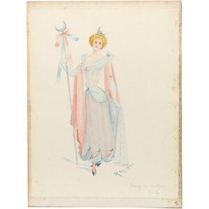 Theatrical Portrait Watercolour Costume for Luna Caricature R Hibbert c1880