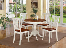 3-PC DINETTE KITCHEN TABLE WITH 2 AVON WOOD SEAT CHAIRS IN BUTTERMILK & CHERRY