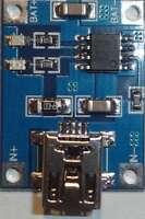 5V Mini USB 1A Lithium Akkus Board Ladegerät Modul (Mini,TP4056,18650) - E651