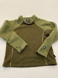 Kuhl Alfpaca Fleece Sweater Boys Medium Green/brown Made in Canada
