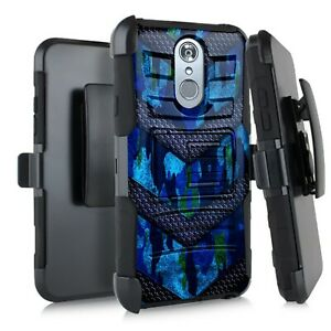 Holster Case For LG Stylo 5 / Stylo 5 Plus Hybrid Phone Cover - BLUE CAMO BADGE