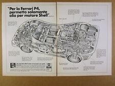 1968 Ferrari P4 race car cutaway drawing art Shell Oil vintage print Ad
