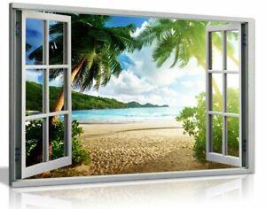 Beach Sunset View 3D Window Effect Canvas Wall Art Picture Print