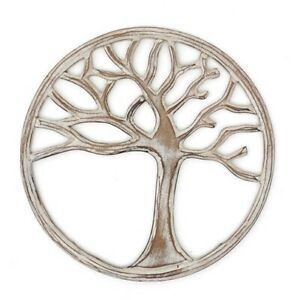Beautiful Hand Made White Tree of Life Wall Plaque 24cm X 24cm