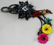 Black Dahlia Genuine Leather Keychain Key ring Floral Handcraft Flower Purse