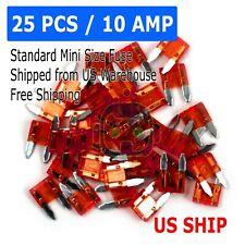 25 PCS Mini Trucks SUV'S Auto Fuses Assorted Color Coded Car 10 Amp Fuse