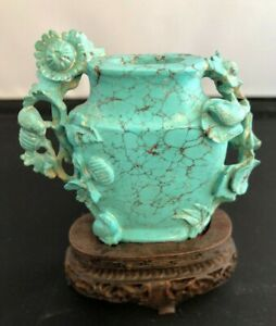 Antique Chinese Turquoise Vase Carving with wood base