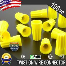 (100) Yellow Twist-On Wire Connector Connection nuts 18-12 Gauge Barrel Screw