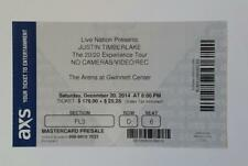 Justin Timberlake Ticket Stub, 20/20 Experience Tour, Atlanta 12/20/14, Official