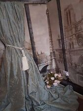 "NEW! Sublime Huge Classic French Damask Duck Egg119""D130""W Cotton Lined Curtains"
