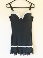 Black & White Padded Slip Dress Comfort Casual Homewear Women's Straps