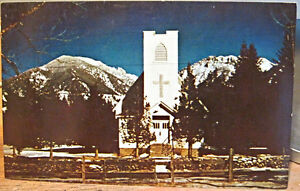 Montana Postcard PINE CREEK CHURCH Livingston Paradise Valley 1960s Whithorn