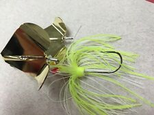 """Terminator Super SS 1/2 Tandem Buzzbait """"Chartreuse White Shad"""" Gold/Gold"""