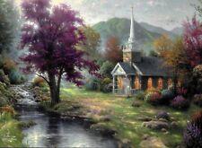 "Thomas Kinkade ""Streams Of Living Water"" Boxless Puzzle Chapel Nature Deer *NEW*"