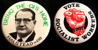 BRING THE GI'S HOME SOCIALIST WORKERS PARTY 1968-70 ORIGINAL BUTTONS SCARCE