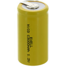 Exell C Size 1.2V 3000mAh NiCd Rechargeable Battery with Tabs Fast Usa Ship