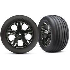 """Traxxas 3771A Rustler XL-5 VXL Ribbed Front Tires & 2.8"""" Black Chrome Wheels"""