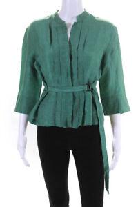 Akris Punto  Womens Linen Pleated Tie Waist Blouse Green Size 8
