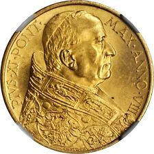 VATICAN CITY 1929 100 LIRE GOLD COIN, CHOICE UNCIRCULATED, CERTIFIED NGC MS-64