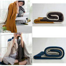 Soft Cotton Knit Patchwork Sofa Bed Throw Blanket Office Nap Cover Blanket