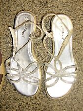 COASTERS girls sz 3 silver wedge sandals shoes with sparkle