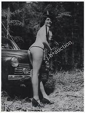 PINUP STRIPPER NUDE WOMAN OLDTIMER FOREST WALD AKT * Vintage 50s SEUFERT Photo